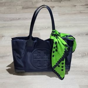 Tory Burch Navy Ella Expandable Tote
